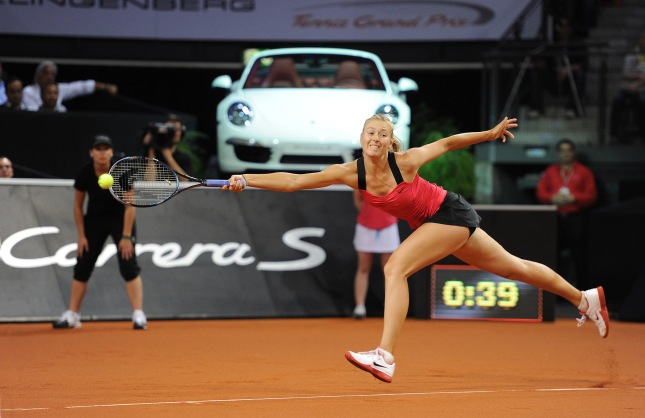 Maria Sharapova (RUS) back in the Porsche Arena