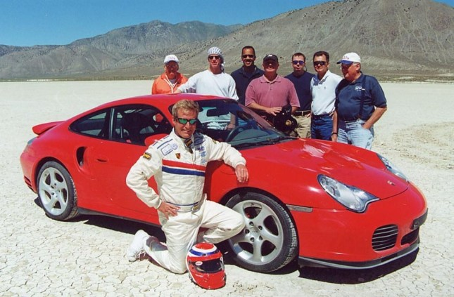Bruce pictured with blue and whte cap on the  far right at Dry Lake. Source: Bruce Anderson 911 Porsche Blog