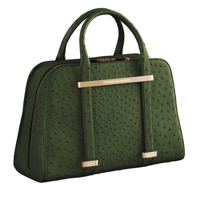 TwinBag in green ostrich leather
