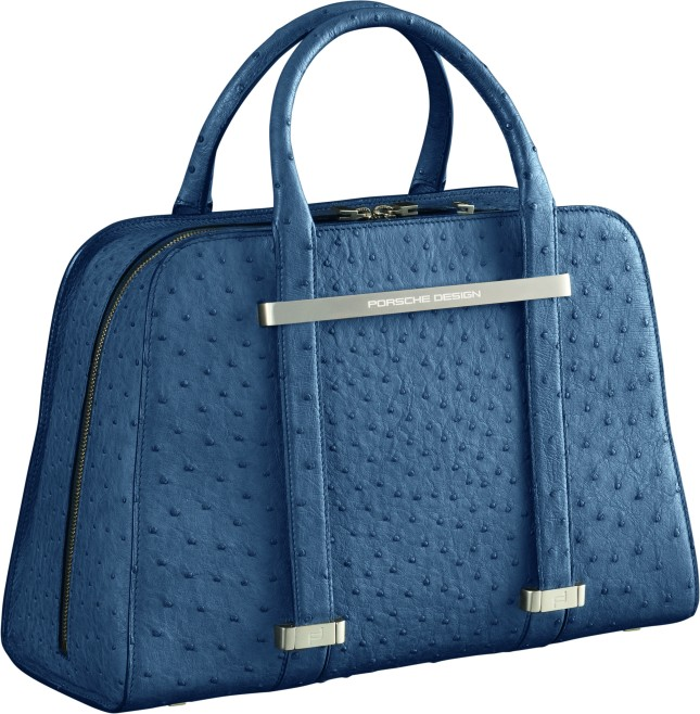 TwinBag in blue ostrich leather