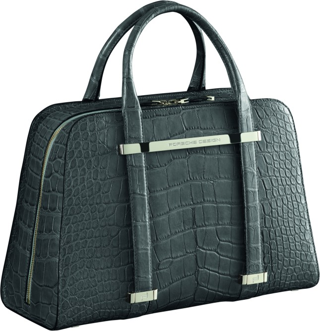 TwinBag in grey crocodile leather