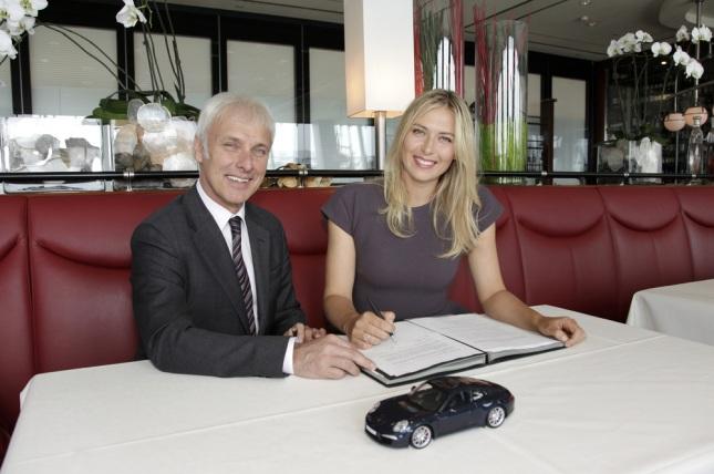 Matthias Müller President and CEO, Porsche AG, Maria Sharapova