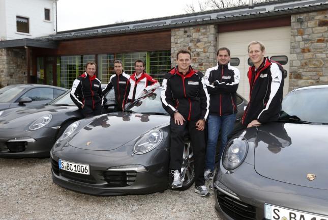 Patrick Pilet, Timo Bernhard, Romain Dumas, Marc Lieb, Richard Lietz, Joerg Bergmeister (l-r), Porsche AG Team Manthey