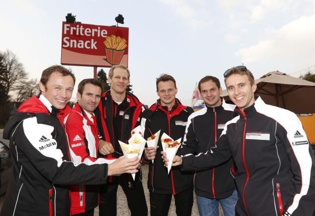 Patrick Pilet, Romain Dumas, Joerg Bergmeister, Marc Lieb, Richard Lietz,Timo Bernhard (l-r), Porsche AG Team Manthey