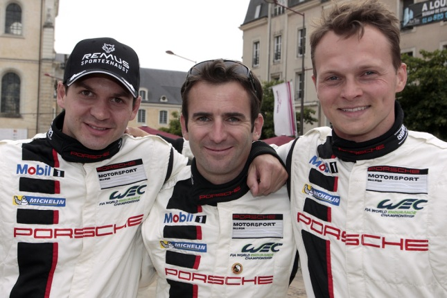 (l.-r.): Richard Lietz, Romain Dumas, Marc Lieb
