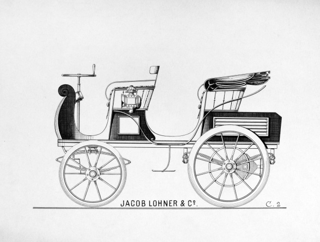 "The draft of ""Egger-Lohner electric vehicle C.2 Phaeton""."