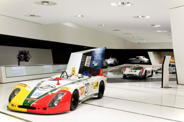 "For the first time on display: The Porsche 908/02 Spyder LH with the nickname ""shark fines"" achieves the 3rd place in the overall classification."