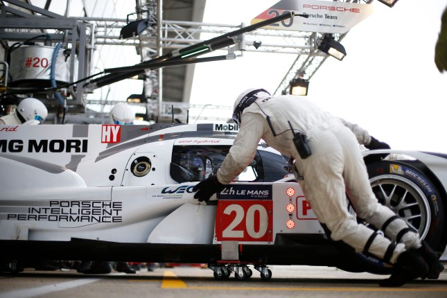 Porsche 919 Hybrid, Porsche Team: Timo Bernhard, Brendon Hartley, Mark Webber,during the 2014 Le Mans 24 hours test day, on June 1st 2014, at Le Mans circuit, France. Photo Florent Gooden / DPPI
