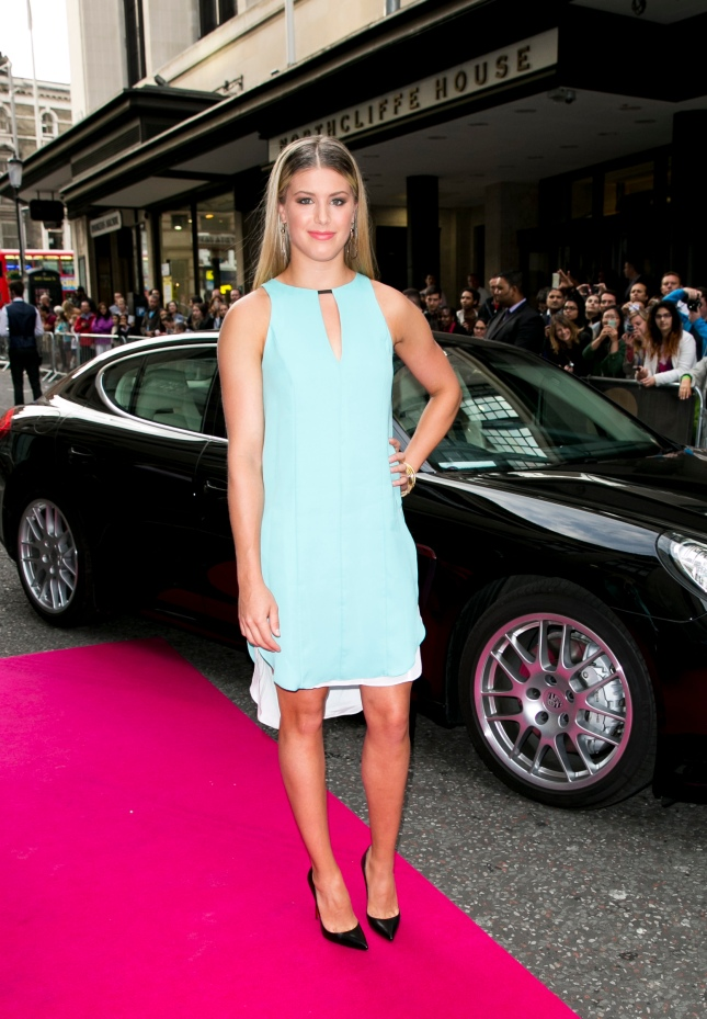 Eugenie Bouchard arrives with a Porsche Panamera for the WTA Pre-Wimbledon Party at Kensington Roof Gardens on June 19, 2014 in London, UK