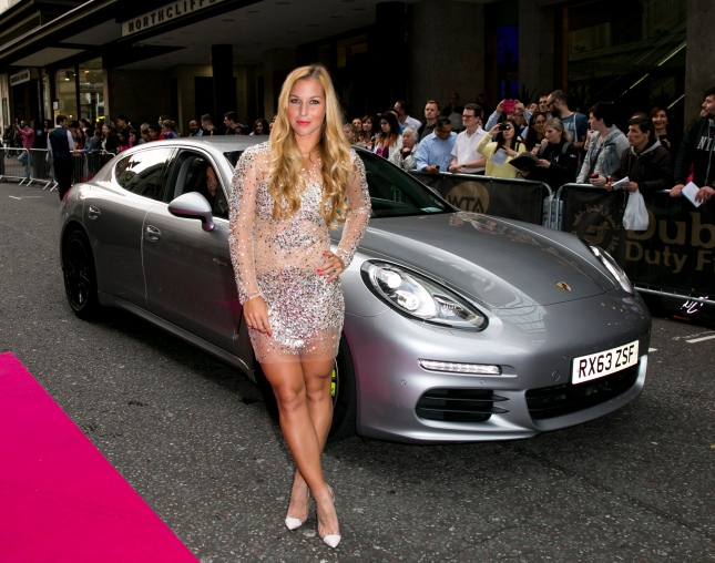 Dominika Cibulkova arrives with a Porsche Panamera for the WTA Pre-Wimbledon Party at Kensington Roof Gardens on June 19, 2014 in London, UK