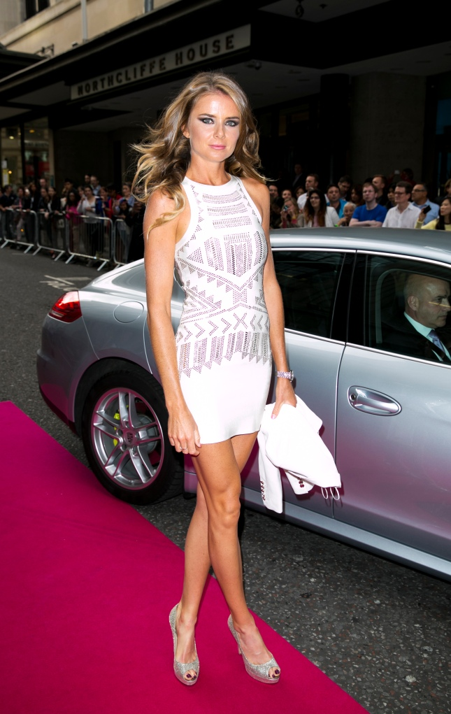 Daniela Hantuchova arrives with a Porsche Panamera for the WTA Pre-Wimbledon Party at Kensington Roof Gardens on June 19, 2014 in London, UK