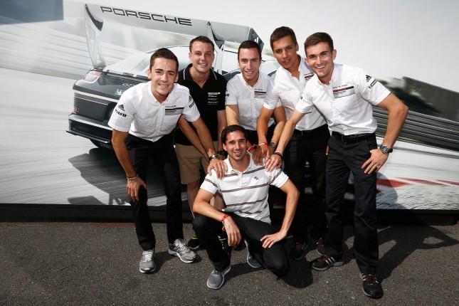 Sven Müller (D), Earl Bamber (NZ), Alex Riberas (E), Klaus Bachler (A), Connor de Phillippi (USA), Neel Jani (CH) Porsche Mobil 1 Supercup Hockenheim 2014