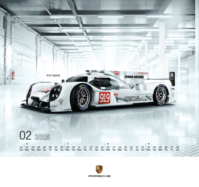 "The Porsche Calendar 2015 ""Monochrome Purity"" February"