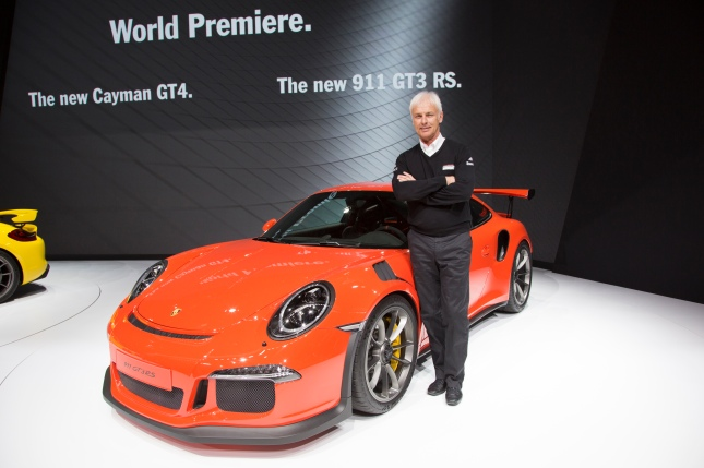 Chairman of the Executive Board of Porsche AG, Matthias Müller, presents the Cayman GT4 and 911GT3 RS at the Geneva Auto Show
