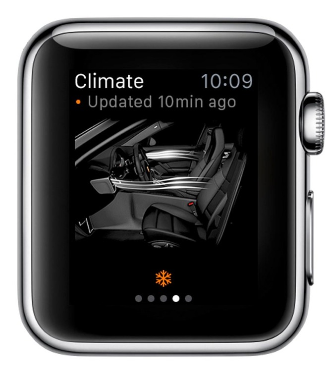 Porsche Car Connect for Apple Watch: Activation and status of the pre-heat/pre-cool function of the E-Hybrid car