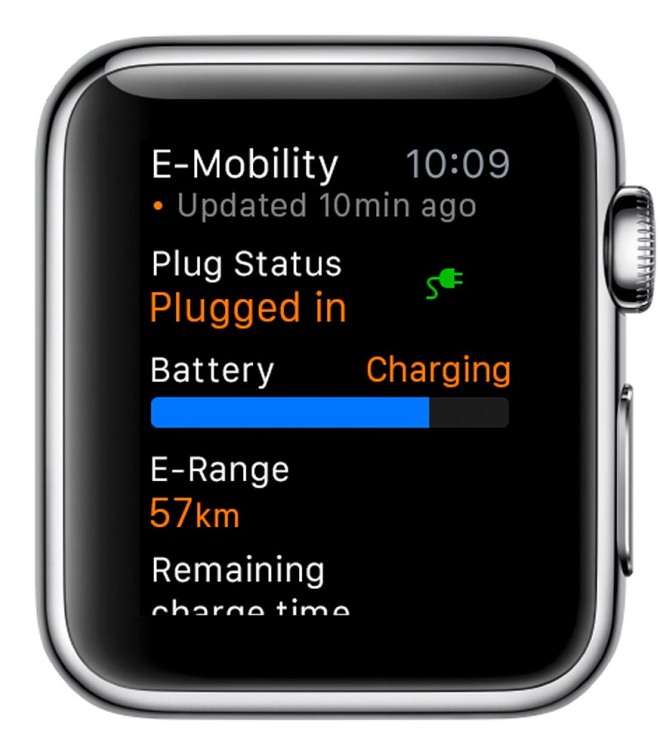 Porsche Car Connect for Apple Watch: Information about the E-Mobility status of the E-Hybrid car