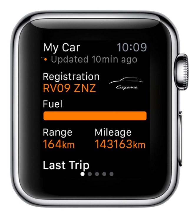 Porsche Car Connect for Apple Watch: Overview of basic informations about the car