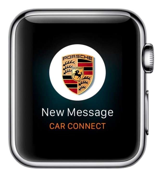 Porsche Car Connect for Apple Watch: Notifications about new messages of the PCC app
