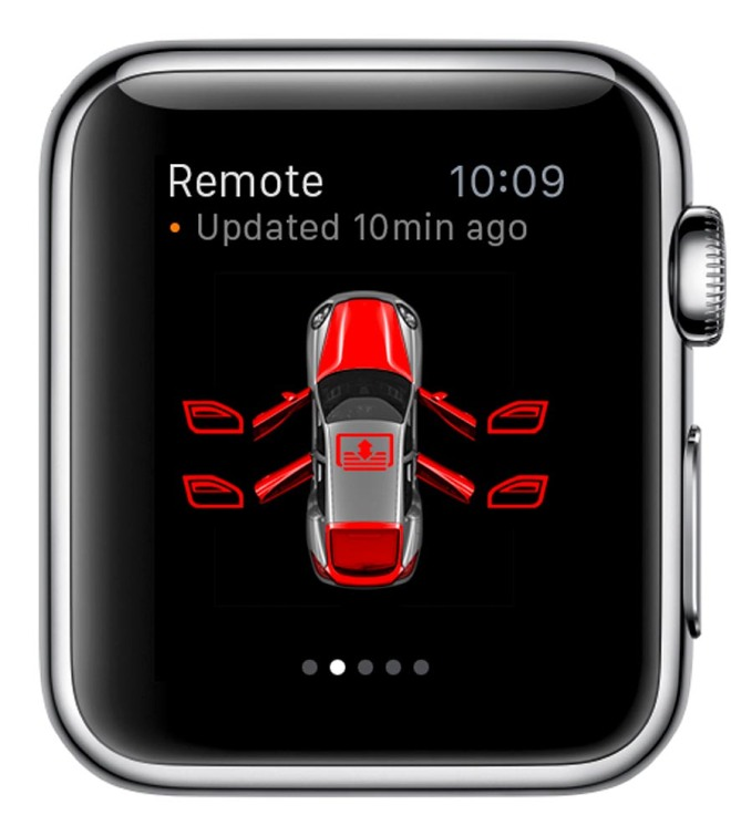 Porsche Car Connect for Apple Watch: Remote screen shows current status with door and window indicators