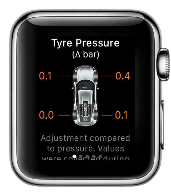 Porsche Car Connect for Apple Watch: Information about the tyre pressure